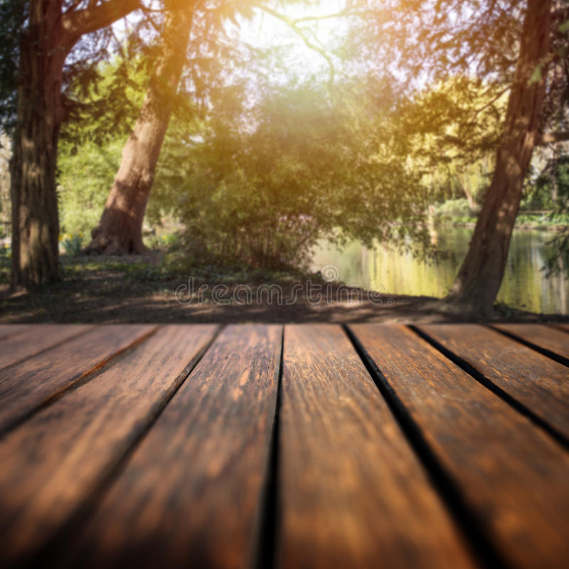 Forestsee und ein leerer Holztisch lizenzfreie stockfotografie