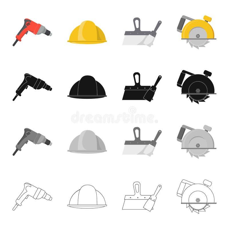 Foret électrique, casque de construction, spatule pour la réparation, circulaire manuelle Icônes réglées de collection de constru illustration de vecteur