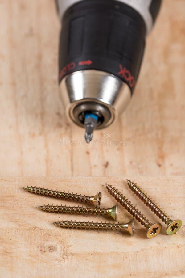 Foret d'Accu avec la pile des vis en métal photo libre de droits