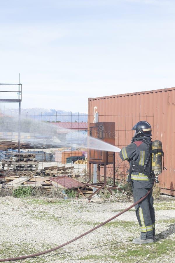 Foret de station de train du feu de pompier photographie stock libre de droits