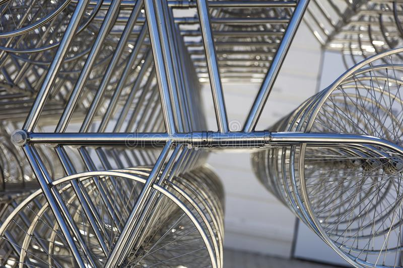 Forever bicycles sculpture in La Boca, Buenos Aires, Argentina. It was made by Chinese artist Ai Weiwei with 1254 bicycles stock photo