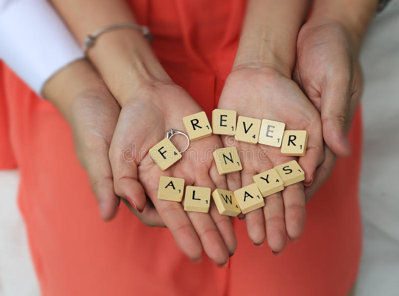 Forever and Always. A couple made words Forever and Always from scrabbles royalty free stock photography