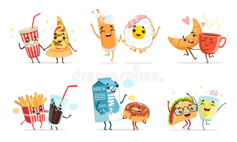 Forever Friends Collection, Cute Funny Food and Drink Cartoon Characters, Childish Menu Elements Vector Illustration stock illustrationer