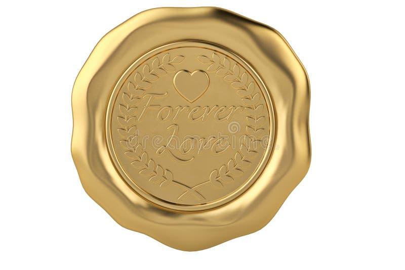 Forever love gold wax seal. 3D illustration. stock illustration