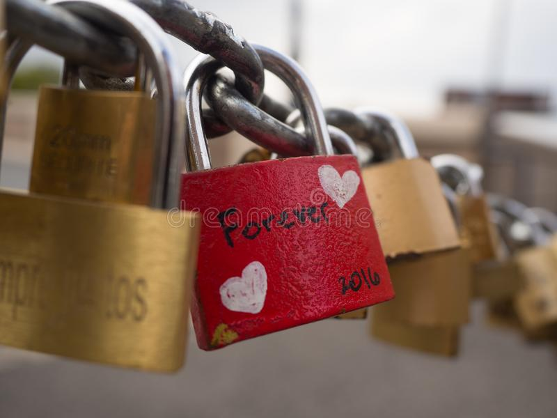 Forever Love Lock. On fence in Rome Italy royalty free stock photography