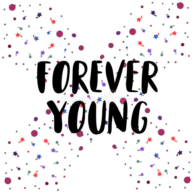 Forever Young lettering with bubble and comet on background. T-shirt design print, logo. Vector illustration vector illustration