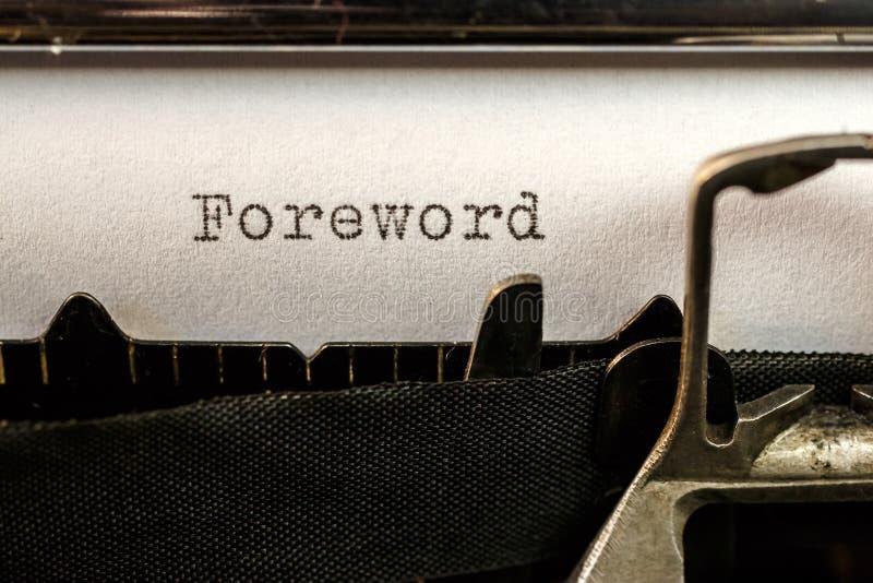 Foreword text written by old typewriter. Macro of Foreword text written by old typewriter machine stock photos