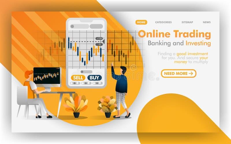 Forex bepaalt de online handel, het beleggen, concept van de investerings het Vectorillustratie, mensen investering Makkelijk te  vector illustratie