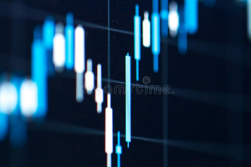 Forex chart on screen of laptop. Stock finance business diagram on display. Bars of trading chart stock photos