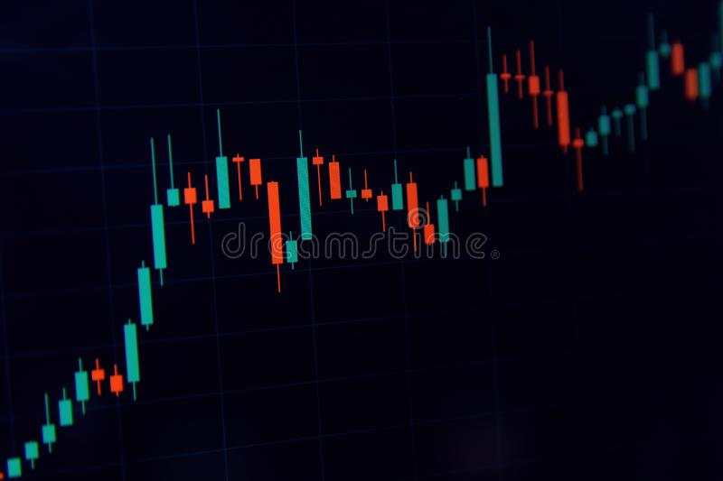 Forex concept - Candlestick chart red green in financial market for trading on black color background.  royalty free stock photos