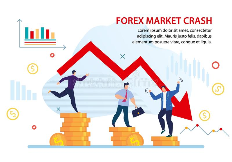 Forex Crisis Currency Market Crash Flat Poster. Dollar Drop. National Currency Market Crash. Gold Coins Value Decrease. Forex Crisis. Investment Loss. Negative vector illustration