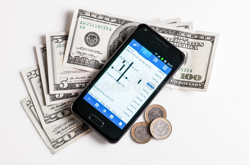 Forex die door mobiele telefoon handel drijven stock afbeelding