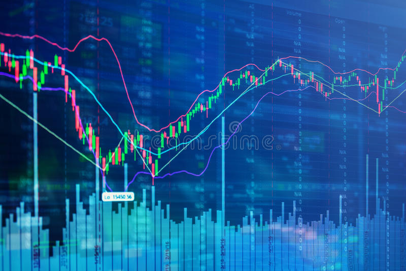 Forex graph chart of stock market investment trading. Candle stick graph chart of stock market stock images
