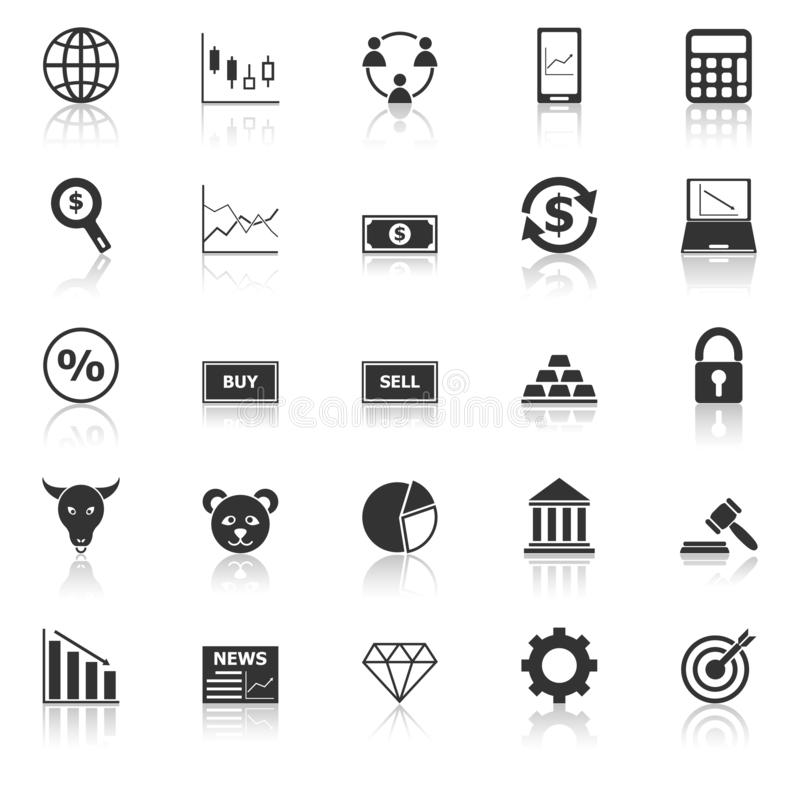 Forex icons with reflect on white background. Stock vector stock illustration