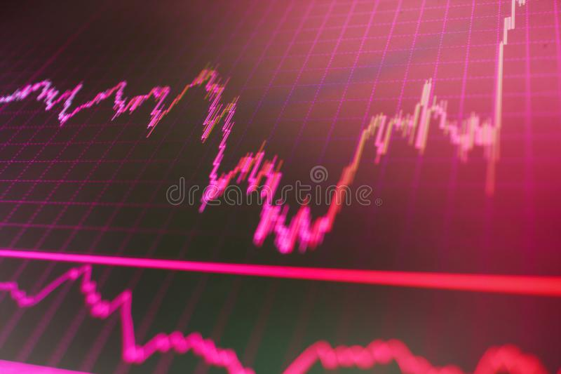 Forex market charts on computer display. Background stock chart. Stock diagram on the screen. Blue background with stock chart stock photography