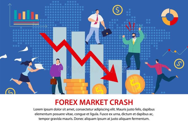 Forex Market Crush Economical Crisis Flat Poster vector illustration