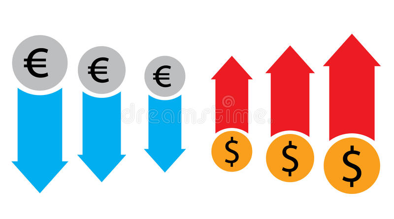Forex market and stock exchange conceot with euro and dollar symbols. Forex market and stock exchange conceot with euro and dollar symbols and red and blue vector illustration