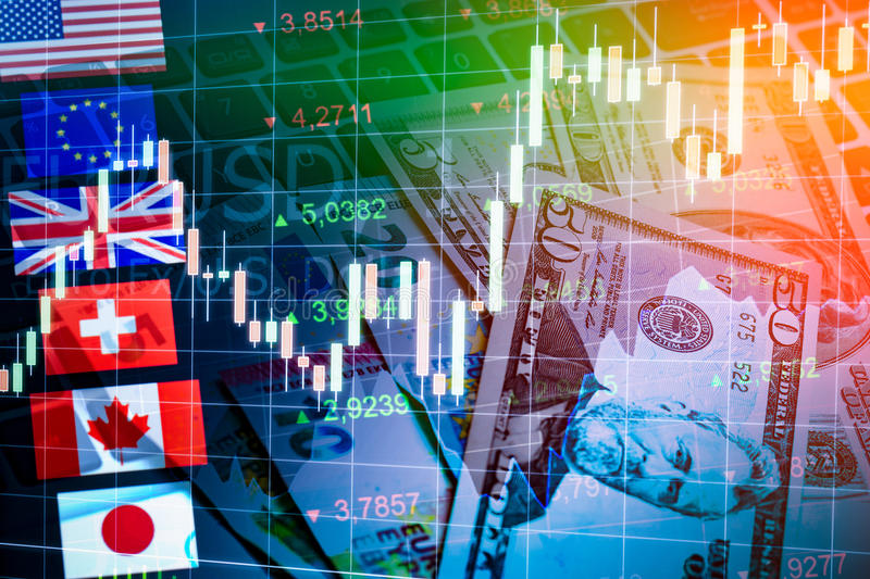 Forex Markets Currency Trading Concept. Forex Markets Currency Trading Global Economy Concept. United Kingdon Pund, European Euro, American and Canadian Dollar stock image