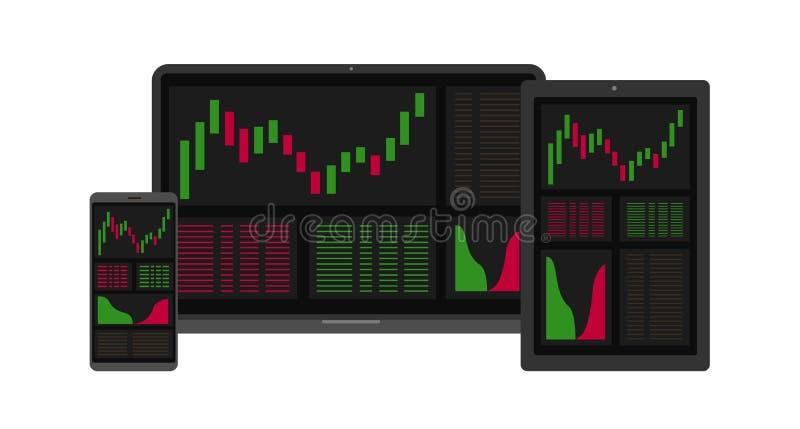 Forex markt, crypto analyse Binaire optie Het toepassingsscherm voor handel Kaarsen en indicatoren HUD UI voor zaken app stock illustratie