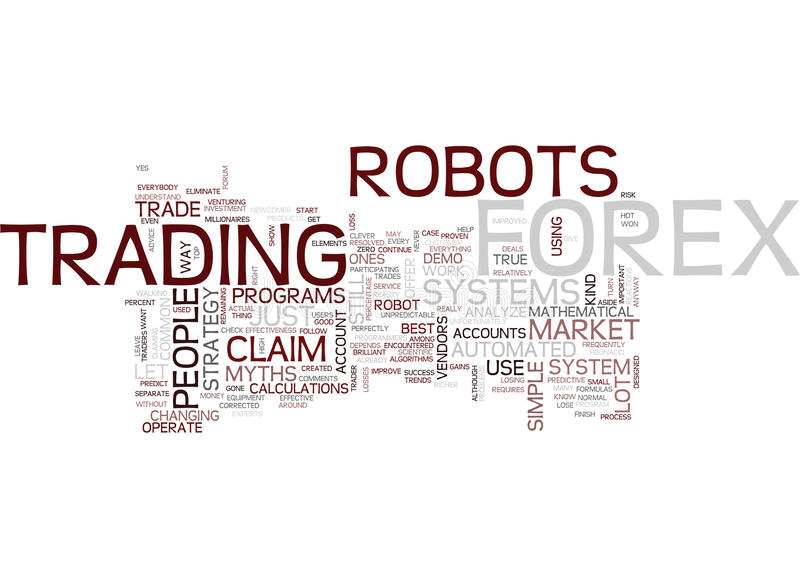 Forex Robot Myths Text Background Word Cloud Concept stock illustration