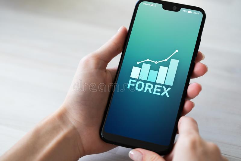 Forex stock market currency trading investment finance concept on mobile phone screen. Forex stock market currency trading investment finance concept on mobile stock photo