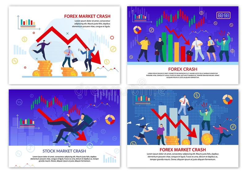 Forex Stock Trade Market Crash Poster Flat Set. Business and Investment Crisis. Currency Failure. Negative Technical Analysis Candlestick Chart with Channel royalty free illustration