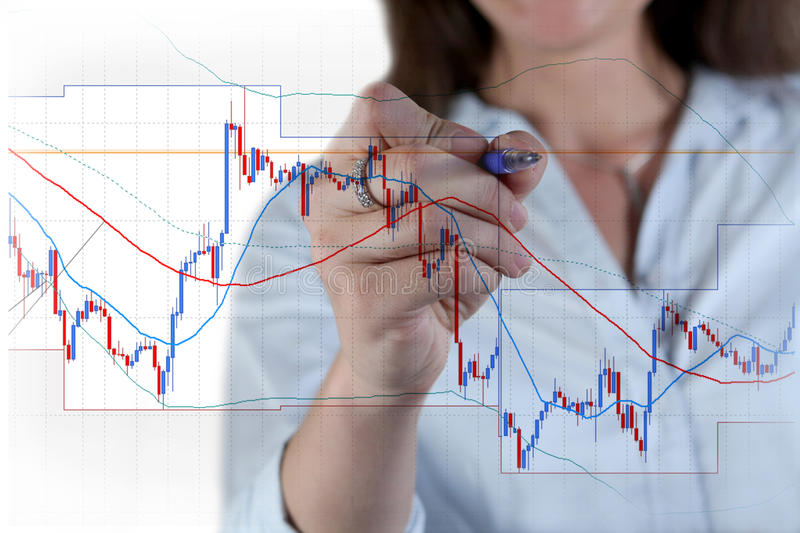 Forex trading. Trader with the chart stock photography
