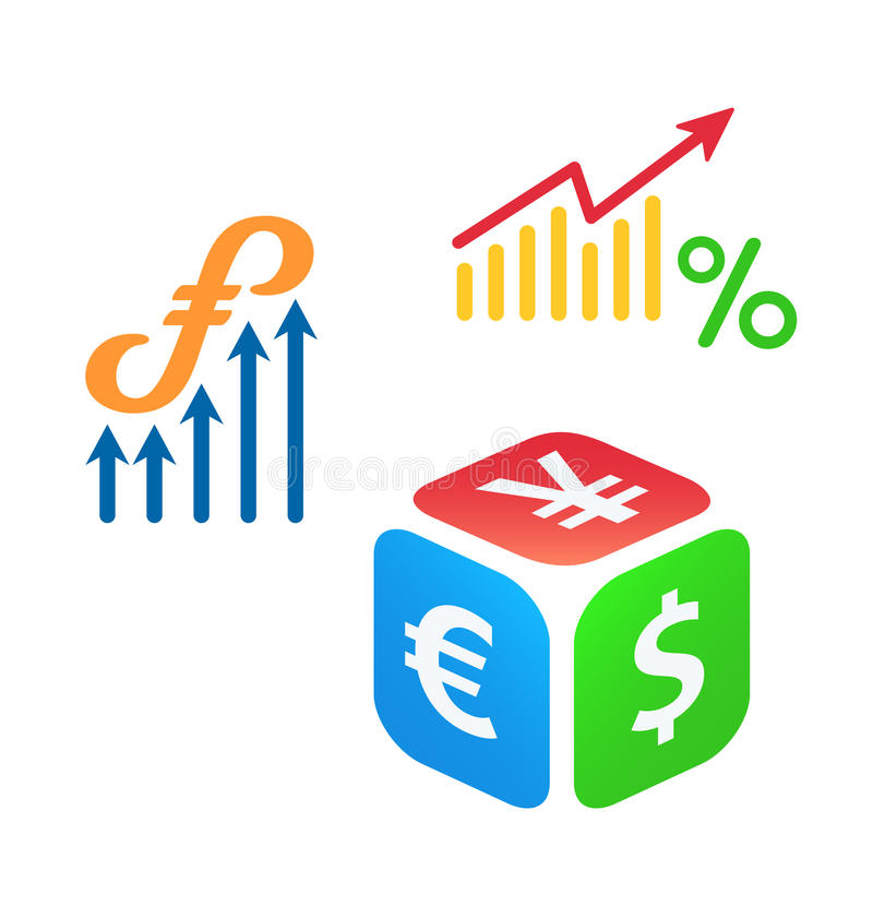 Forex trading. Logo concepts or icons stock illustration
