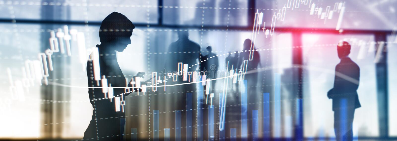 Forex trading, Financial market, Investment concept on business center background.  royalty free stock photo