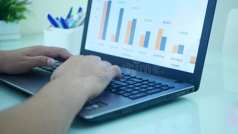 forex trading graph and candle stick chart stock image