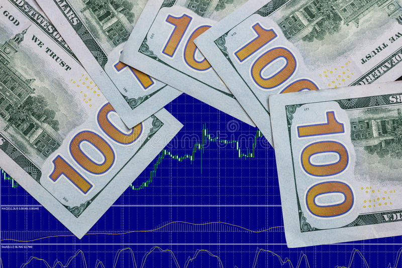 Forex and us dollar. Bills stock photo