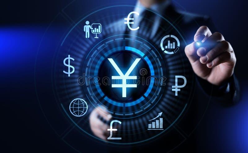 Forex van het YENsymbool de uitwisselings van de bedrijfs handelmunt financiënconcept stock afbeelding