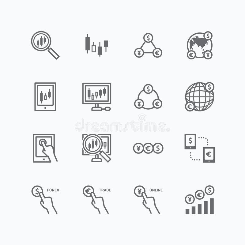 Forex vector flat icons set of business finance online trading vector illustration
