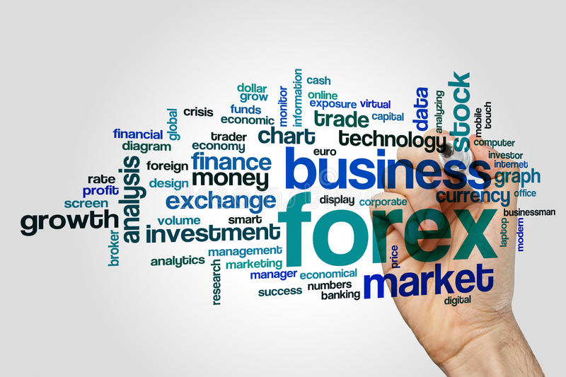 Forex word cloud. Concept on grey background royalty free stock photos