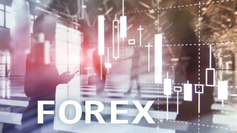 Forexhandel, finansiellt stearinljusdiagram och grafer på suddig bakgrund för affärsmitt royaltyfri illustrationer
