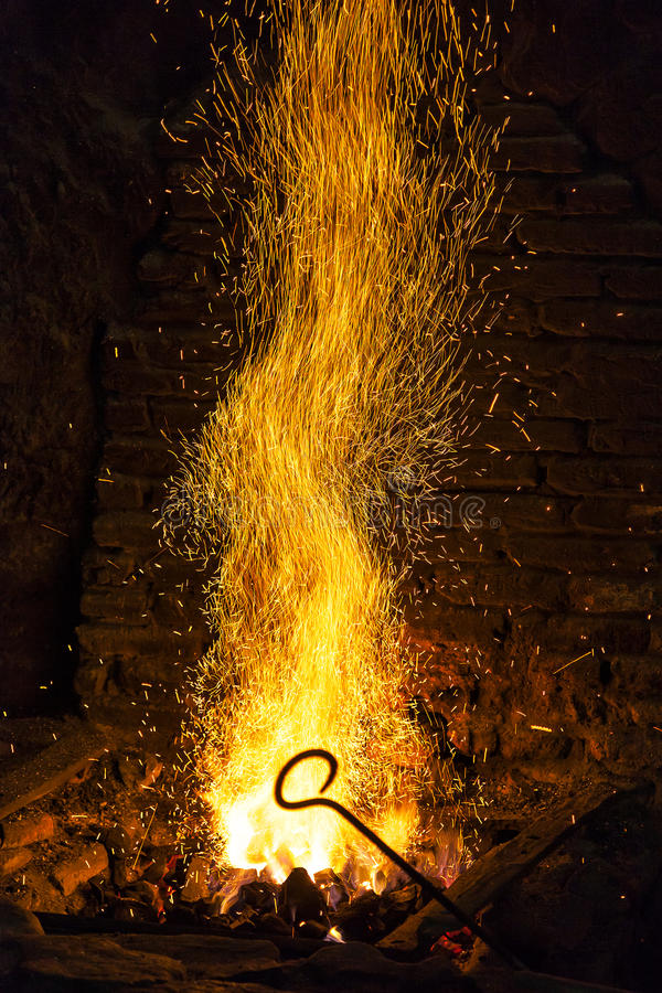 The forge. Fire in an old blacksmith's forge royalty free stock photography