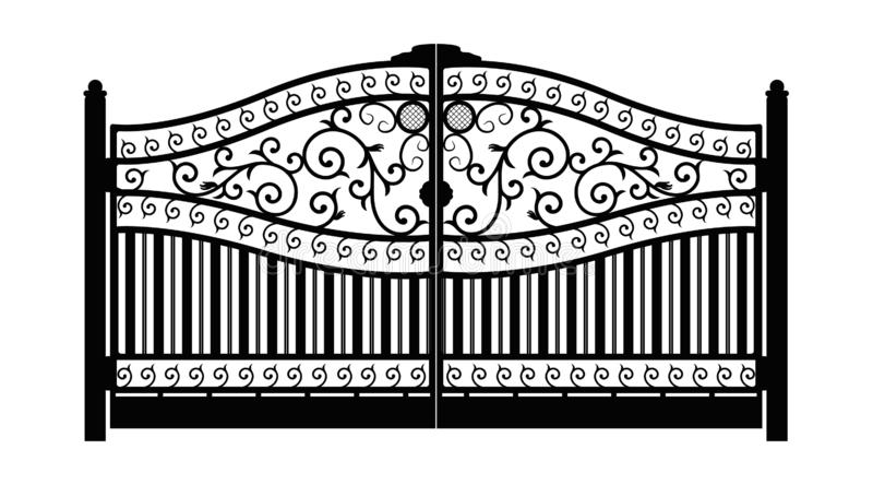 forged brama architektura za klasycznym szczegółu poduszek widok Czerń fałszował żelazną bramę z dekoracyjną kratownicą odizolowy royalty ilustracja