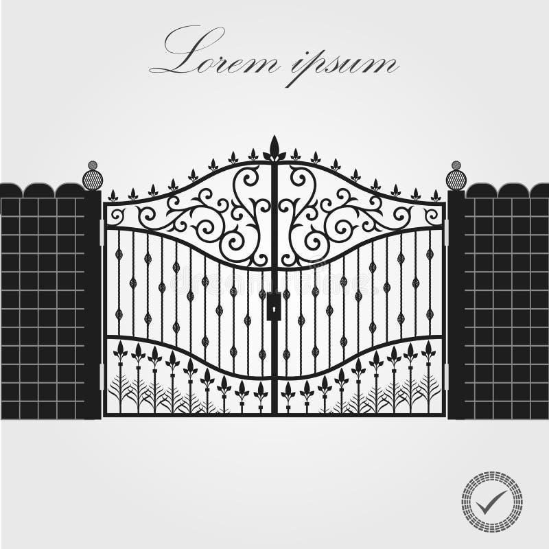 forged brama architektura za klasycznym szczegółu poduszek widok Dekoracyjny dokonany ogrodzeń i bram wektoru set Czarna bramy og royalty ilustracja