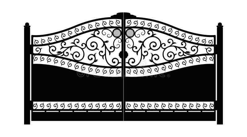 forged brama architektura za klasycznym szczeg??u poduszek widok Czer? fa?szowa? bram? z dekoracyjn? kratownic? odizolowywaj?c? n ilustracji