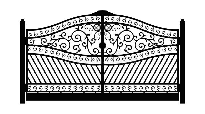 forged brama architektura za klasycznym szczeg??u poduszek widok Czer? fa?szowa? bram? z dekoracyjn? kratownic? odizolowywaj?c? n ilustracja wektor