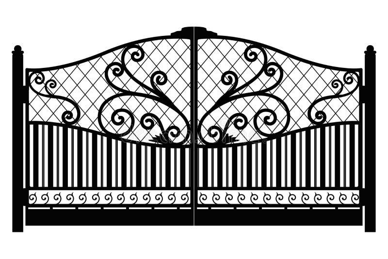 forged brama architektura za klasycznym szczeg??u poduszek widok Czer? fa?szowa? ?elazn? bram? z dekoracyjn? kratownic? odizolowy ilustracji