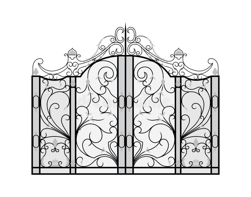 Forged brama odizolowywająca na białym tle. ilustracja wektor