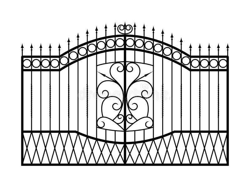 Forged brama odizolowywająca na białym tle. royalty ilustracja