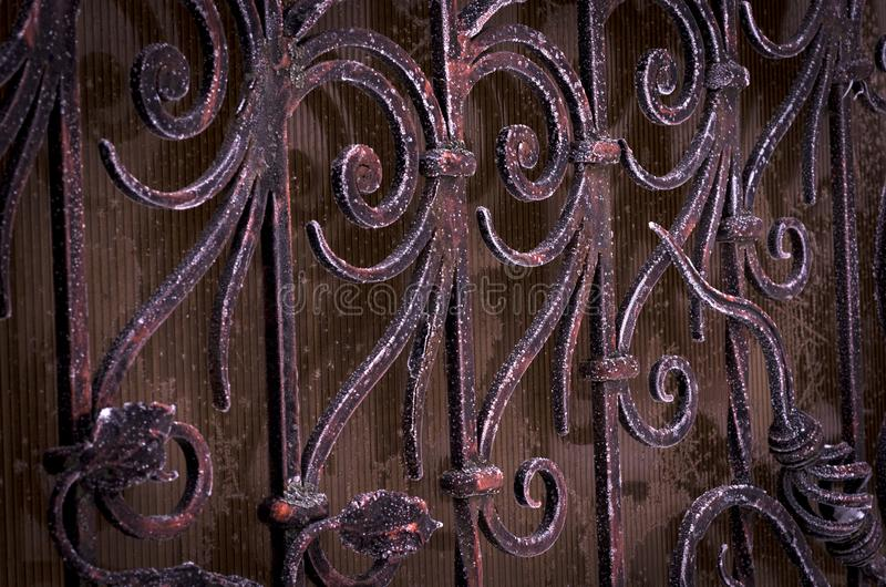 Forged elements of the gate in the cold royalty free stock images