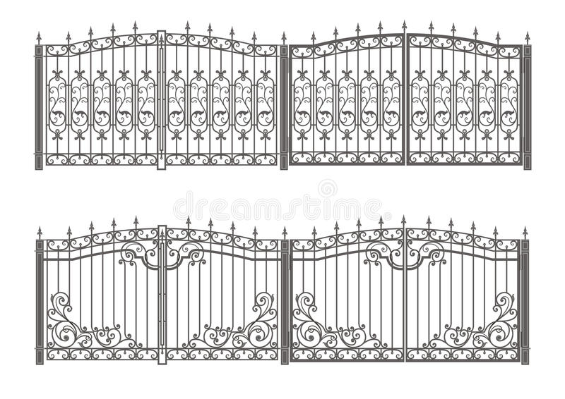 Forged gate and fence. Vector black forged gate and fence with spearheads isolated on white background stock illustration