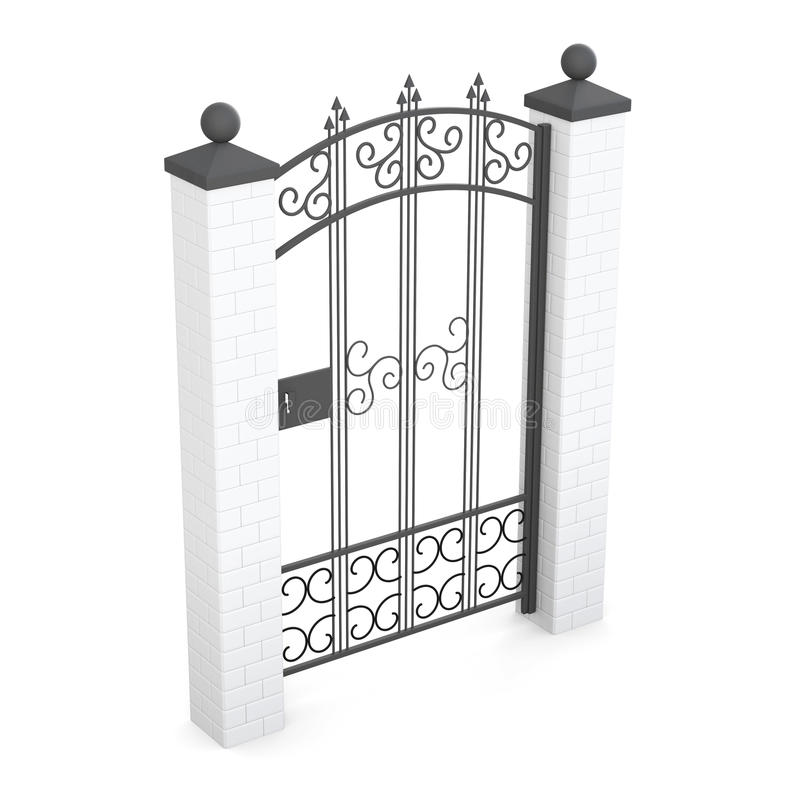 Forged gate isolated on white background. 3d rendering.  royalty free illustration