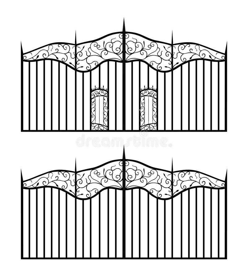 Download Forged Gate With Sharp Spikes And Doors Isolated O Stock Vector - Image: 32278954