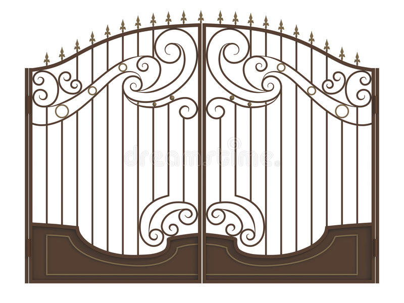 Forged gate with spearheads. Brown forged gate with spearheads isolated on white background vector illustration