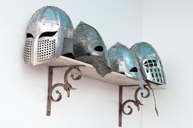 Forged helmets royalty free stock photos