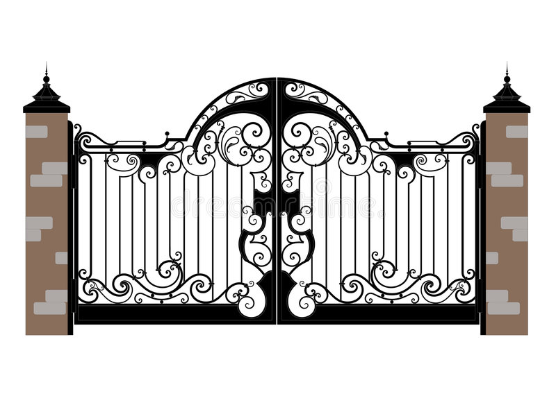 Forged iron gate. Ornate smart forged iron gate-accurate drawing sketch of editable modules royalty free illustration